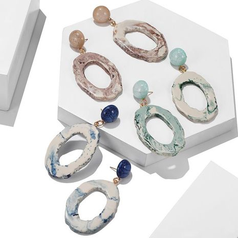 Korean earrings vintage agate flake texture round hollow irregular earrings NHPF196511's discount tags