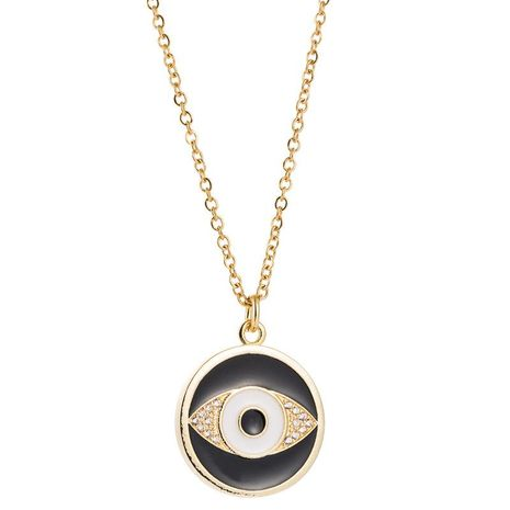 New Accessories Fashion Eye Necklace Female Copper Inlaid Zircon Drop Oil Plated 18K Gold Pendant NHLN196512's discount tags