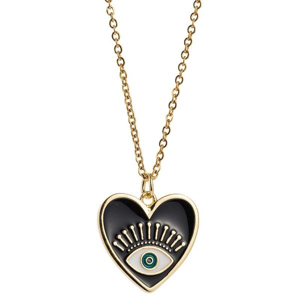 Devil's Eye Necklace Female Copper Plated 18K Gold Dripping Heart-shaped Clavicle Necklace NHLN196513