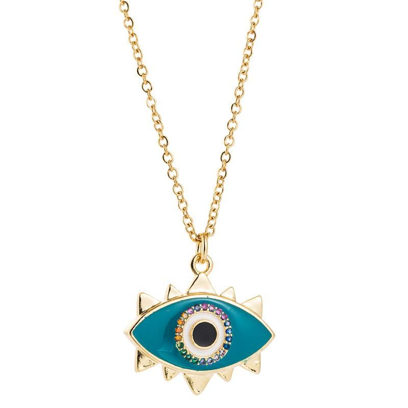 Eyes Simple Necklace Copper Micro Inlaid Zircon Plated 18K Gold Dripping Oil Pendant Sweater Chain Accessories NHLN196514