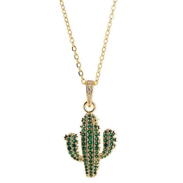 Accesorios Collar de cactus simple Chapado en cobre hembra Oro 18K Micro incrustaciones de circón Colgante de planta Cadena de hueso de serpiente NHLN196518