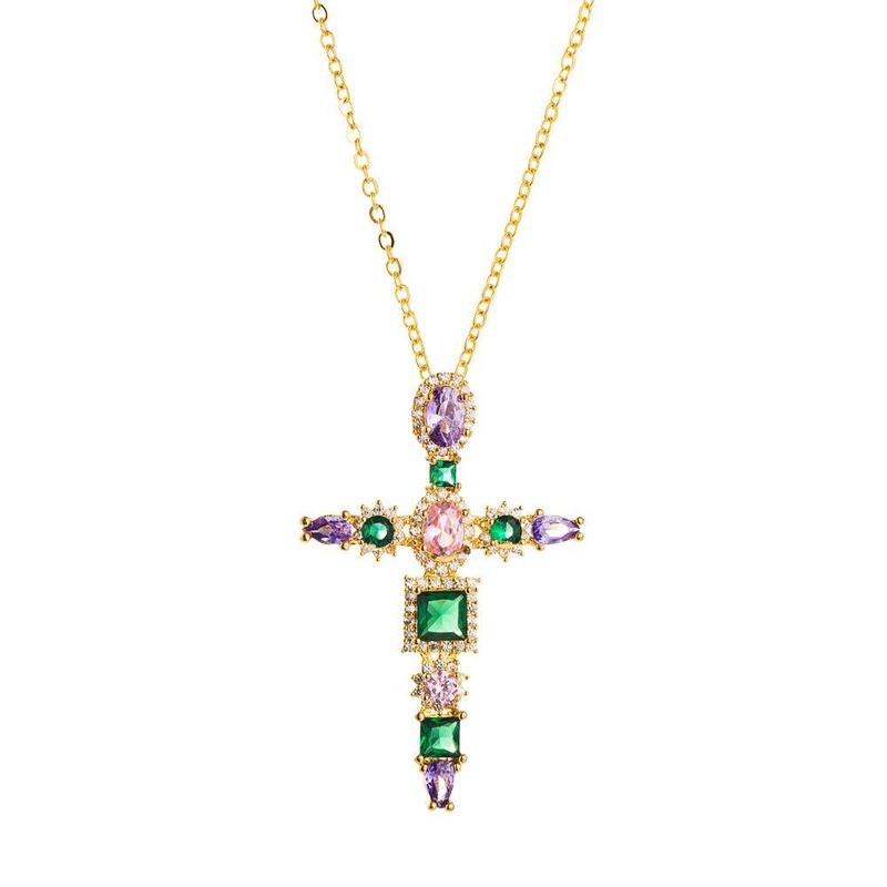 Cross simple pendant necklace women's new accessories set zircon necklace NHLN196521
