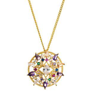 Nuevos accesorios collar de hip-hop simple collar de circón de color con incrustaciones de cobre femenino NHLN196523's discount tags