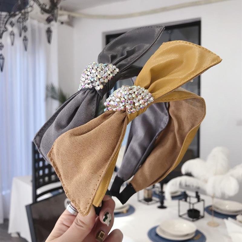 Korean pu faux leather colorful bow with diamond flash wide headband NHSM196532