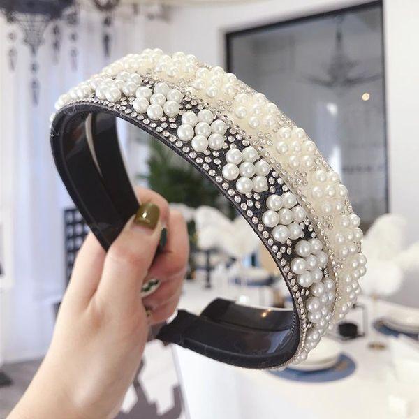 Korean simple hair accessories pearl flower thin headband NHSM196537