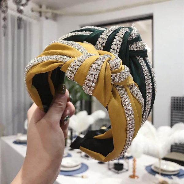 Korean version of simple hair accessories solid color diamond super flash knotted twisted wide side hair hoop NHSM196542