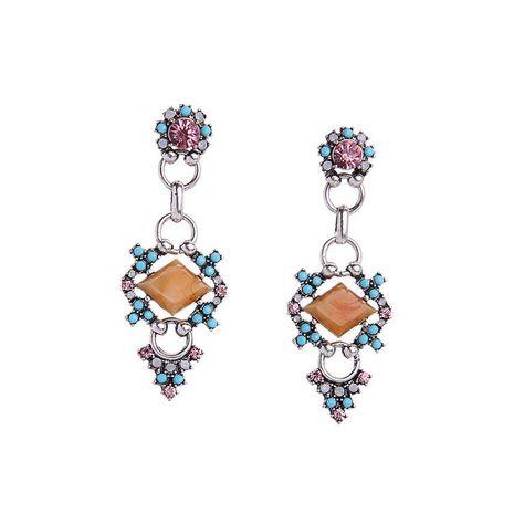 Retro diamond-shaped gem geometric earrings simple wild fresh hollow flower earrings NHQD196553's discount tags