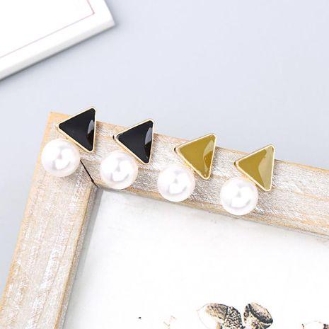 Pendientes de plata esterlina S925 Versión coreana de esmalte esmaltado pendientes geométricos pendientes simples de perlas NHQD196554's discount tags