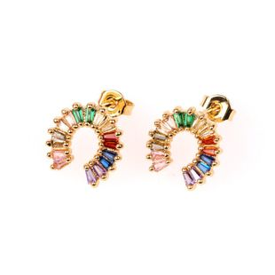 New earrings colored zircon geometric U-shaped stud earrings fashion women earrings wholesale NHPY196556's discount tags