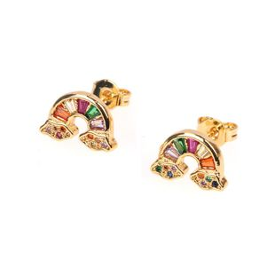 New female earrings micro-inlaid zircon sweet rainbow ear jewelry wholesale NHPY196557's discount tags