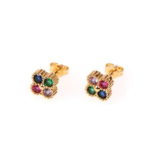 New female earrings micro inlaid zircon sweet flower earrings wholesale NHPY196558's discount tags
