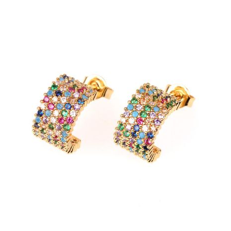New earrings geometric semicircle earrings temperament U-shaped zircon stud earrings wholesale NHPY196561's discount tags