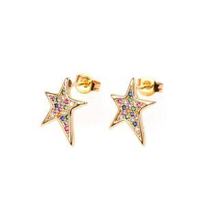 Nuevos pendientes oblicuos asimétricos de cinco puntas con forma de estrella micro-set con diamantes pendientes femeninos al por mayor NHPY196563's discount tags