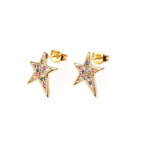 New asymmetric oblique pentagram star stud earrings micro-set with diamonds female earrings wholesale NHPY196563's discount tags