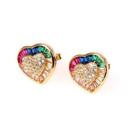 New fashion micro inlaid zirconium diamond love heart earrings blue heart earrings wholesale NHPY196564's discount tags