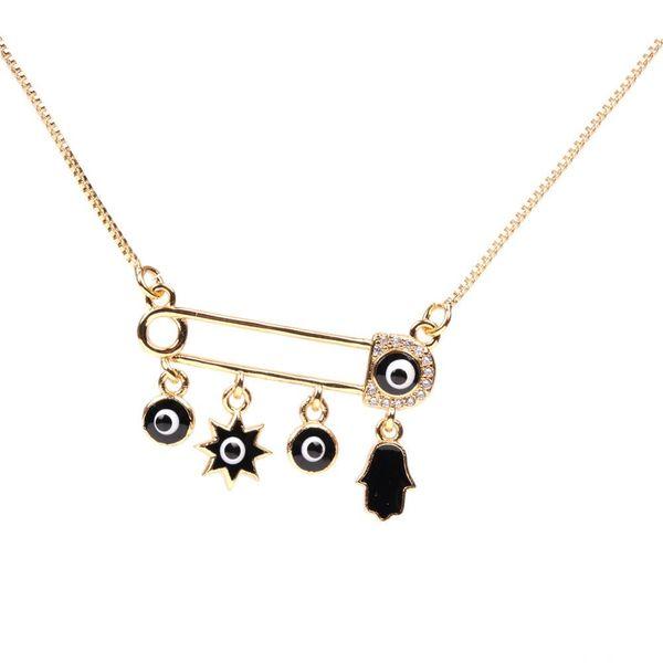 Fashion Pin Zircon Necklace Dripping Palm Eye Pendant Jewellery NHPY196573