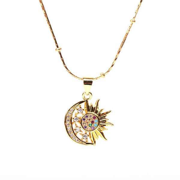 New Micro Diamond Moon Pendant Necklace Vacuum Color Hip Hop Stainless Steel Necklace NHPY196575