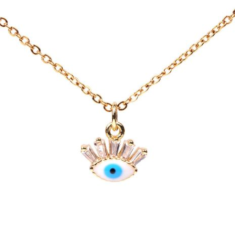 Hot Accessories Micro Inlaid Zircon Devil's Eye Blue Eye Necklace Women's Clavicle Chain Wholesale NHPY196579's discount tags