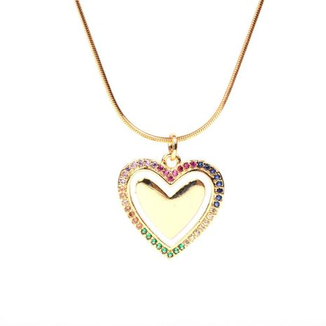 New accessories fashion love peach heart oil drop pendant necklace stainless steel snake bone chain wholesale NHPY196581's discount tags