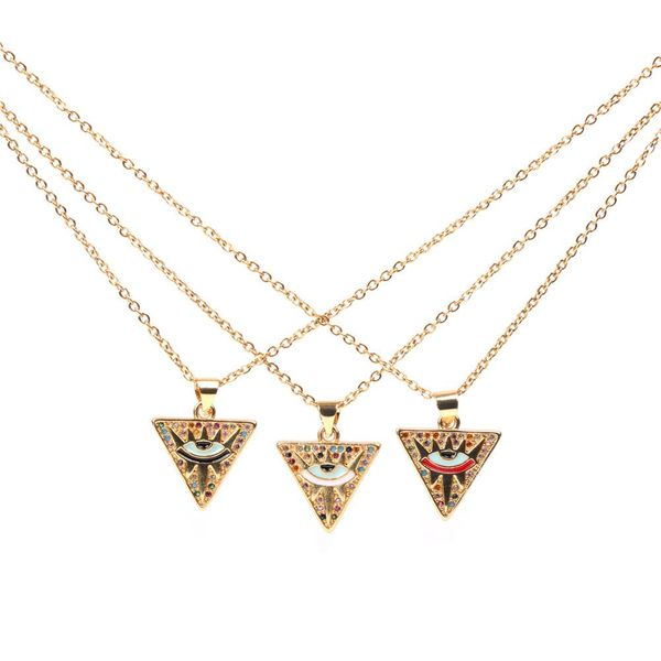 Fashion Copper Zircon Eye Pendant Triangle Hip Hop Necklace Ornament NHPY196587