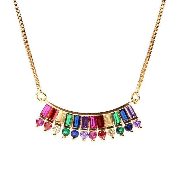 New accessories copper micro-set fashion seven-color zircon pendant necklace copper clavicle chain women's jewelry NHPY196589