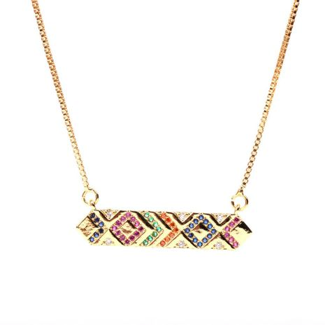 New accessories colored rectangular colored zircon pendant necklace copper clavicle chain NHPY196590's discount tags