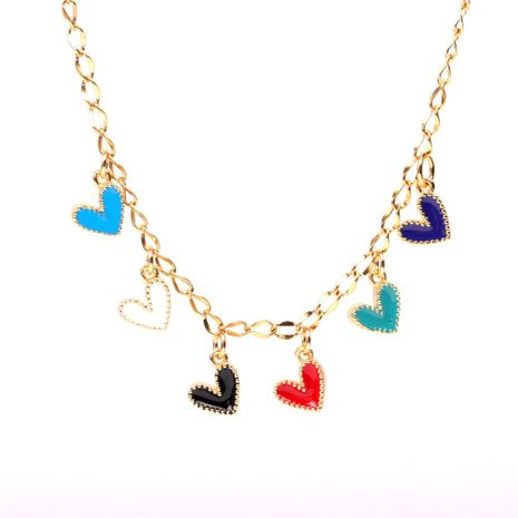 New Accessories Cute Colorful Love Necklace Jewelry Drop Nectarine Heart Heart Pendant Stainless Steel Necklace NHPY196593's discount tags