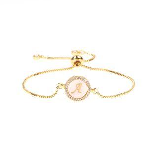 Trend Jewelry Micro-Set Diamond Round Shell 26 Letter Bracelet Pull Zircon Bracelet NHPY196595's discount tags