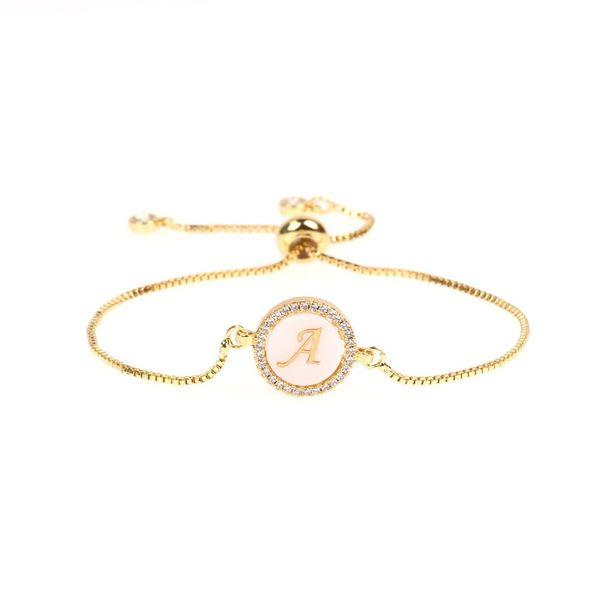 Trend Jewelry Micro-Set Diamond Round Shell 26 Letter Bracelet Pull Zircon Bracelet NHPY196595