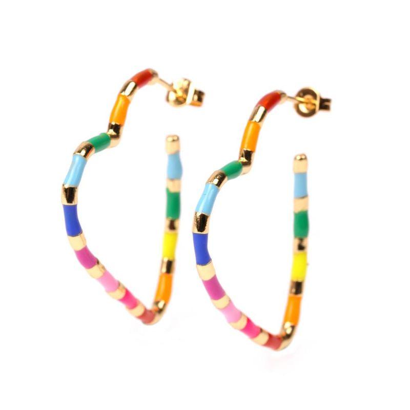 New Jewelry Fashion Geometric Shape Oil Drop Heart Earring Exaggerated Colorful Pentagram Earrings NHPY196233
