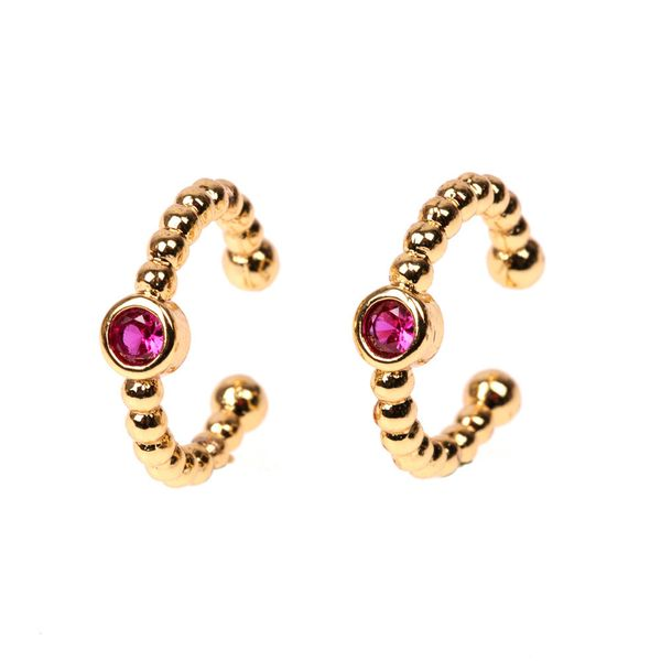 Jewelry Micro Inlaid Color Zircon Earrings C Type Ear Clip Ear Jewelry Wholesale NHPY196235