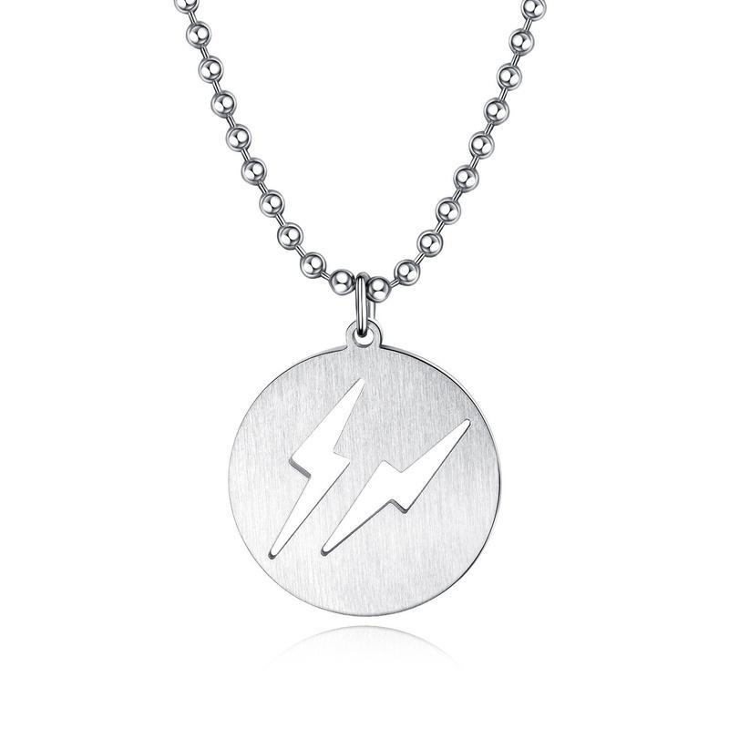Lightning pendant simple stainless steel student jewelry titanium steel men's necklace NHOP196656