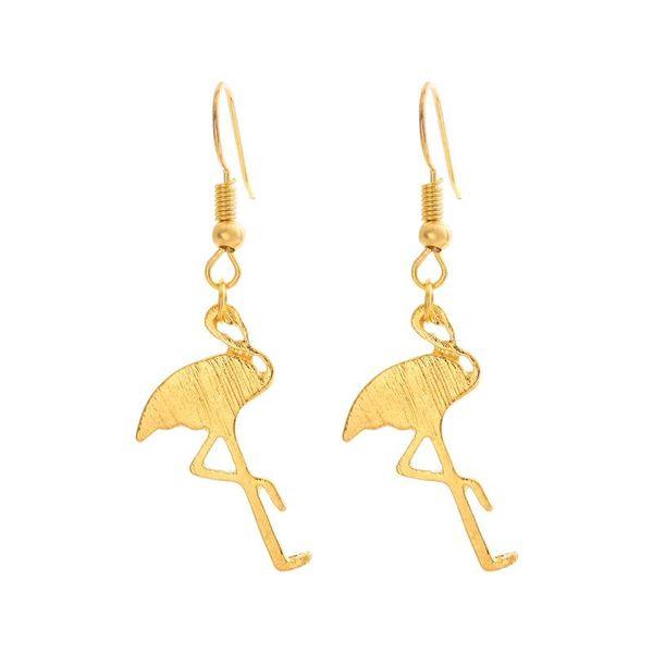 Best selling handmade brushed red-crowned crane earrings fashion animal red-crowned crane alloy earrings NHCU196676