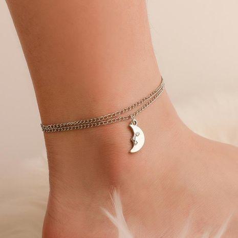 Simple double cheville mignon lune bébé lune pendentif cheville cheville NHCU196680's discount tags