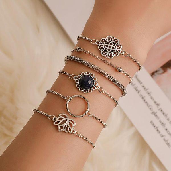 Hollow flower rose lotus bracelet circle bracelet female bohemian bracelet set NHCU196685