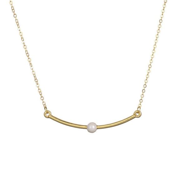 Best selling geometric curved flick necklace with pearl pendant necklace clavicle chain NHCU196686