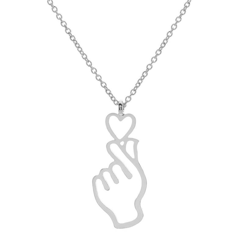 fashion hollow palm palm pendant necklace than heart gesture necklace love necklace chic clavicle chain NHCU196687