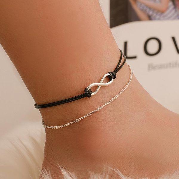 Hot sale number 8 character anklet anklet double black rope beach anklet female anklet NHCU196689