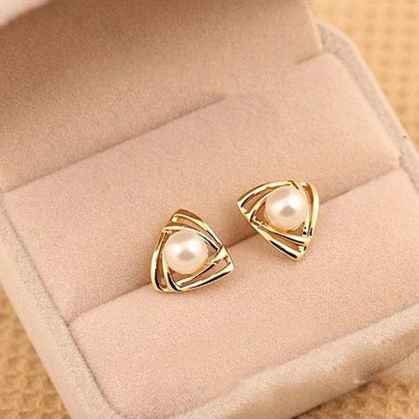 Retro Rose Gold Geometric Openwork Double Triangle Pearl Stud Earrings NHCU196692