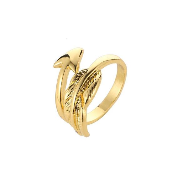 Best selling men and women arrow ring feather leaf ring opening adjustable small couple ring NHCU196693