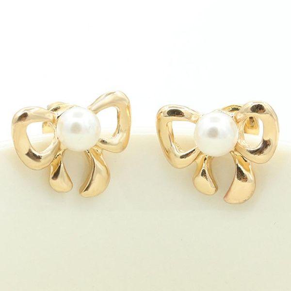Simple bow earrings gold-plated silver inlaid pearl earrings 8-shaped bow tie earrings wholesale NHCU196694