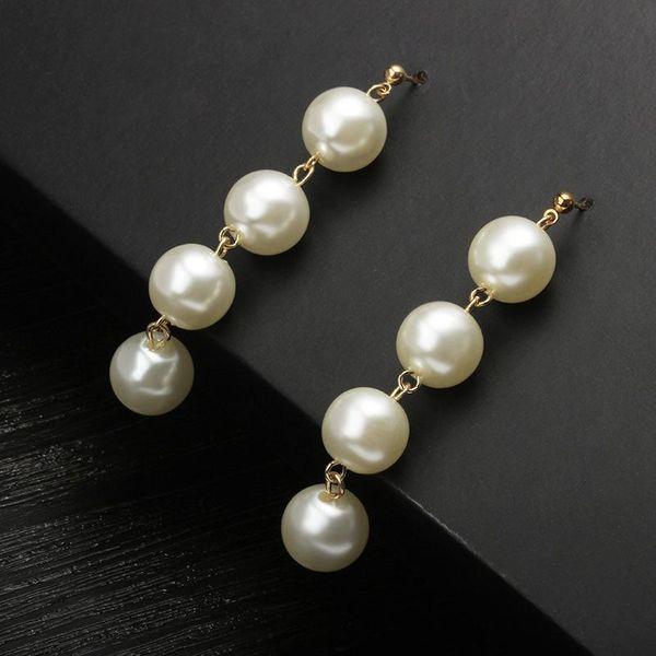 Exaggerated large pearl tassel long earrings female pearl earrings NHCU196700