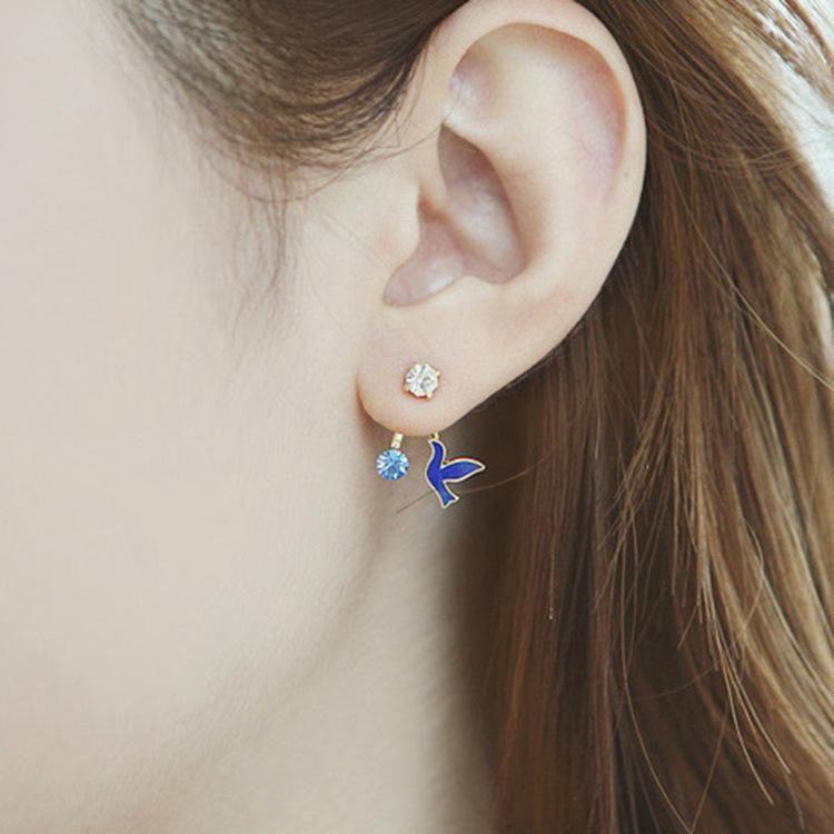 Student stud earrings diamond bird earrings dove and peace pigeon earring jewelry NHCU196703