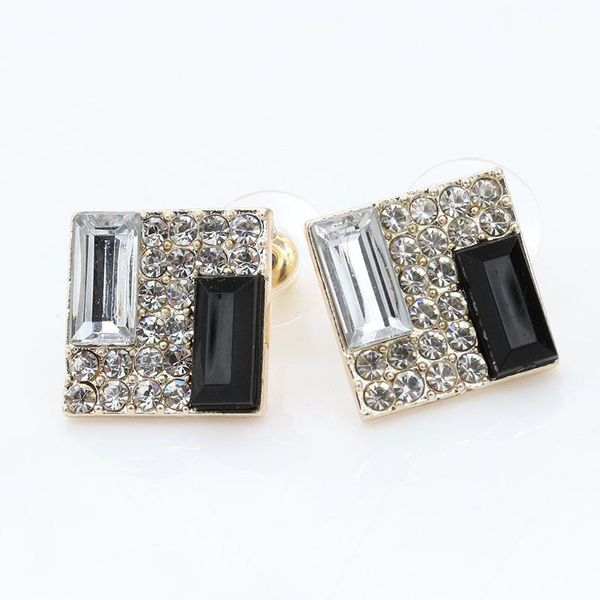 Korean black and white super flash diamond geometric square earrings stereo earrings NHCU196708