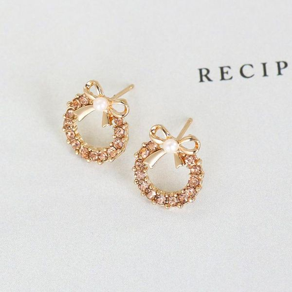 Earrings small pearl bow earrings diamond earrings student earrings NHCU196709