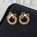 Earrings small pearl bow earrings diamond earrings student earrings NHCU196709
