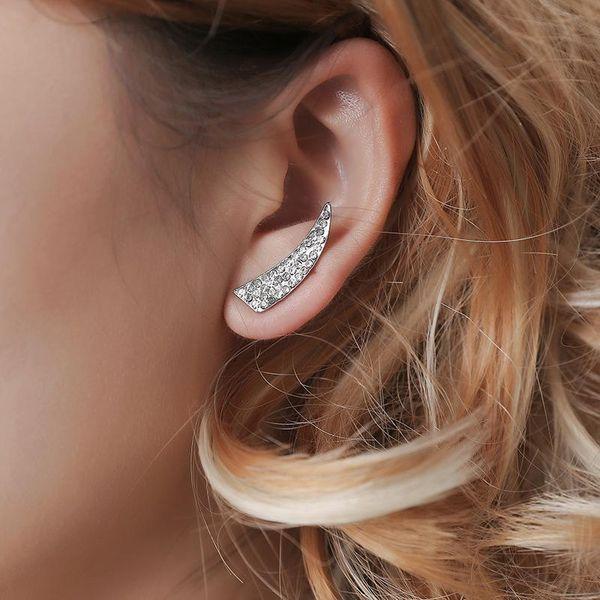 fashion geometric diamond earrings female simple full diamond horn-shaped earrings jewelry spike earrings NHCU196712
