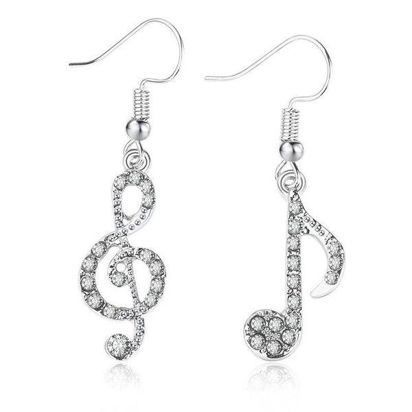 Hot Sale Diamond Note Asymmetric Earrings Student Girl Shining Music Symbol Earrings NHCU196717
