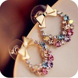 Vintage exquisite flower earrings Korean full diamond bow earrings jewelry wholesale NHCU196718's discount tags