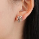 Earrings Turtle Shell Earrings Alloy Plating Gold Gold Silver Tree Leaf Ear Studs Feather Ear Studs NHCU196720